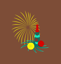 flat on background of christmas ball champagne vector image