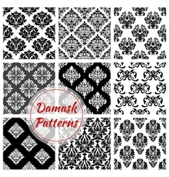 Floral damask pattern set flowery ornament vector