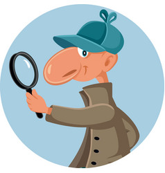 Funny detective looking through a magnifying glass vector