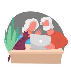 Grandparents communicating via internet websites vector