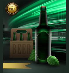 green beer bottle and hops vector image