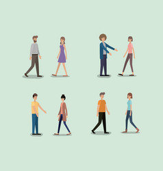 group of people walking characters vector image