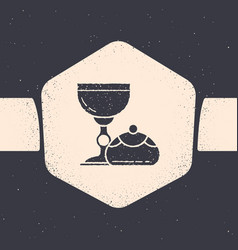 Grunge jewish goblet and hanukkah sufganiyot icon vector