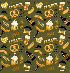 hand drawn doodle style beer and food seamless vector image