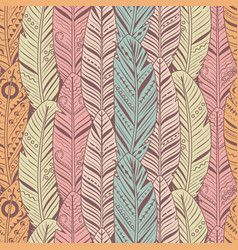hand drawn feathers seamless pattern vintage vector image