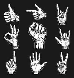 Hand signs and gestures collection graphic vector