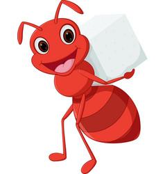 Happy ant cartoon carrying sugar vector