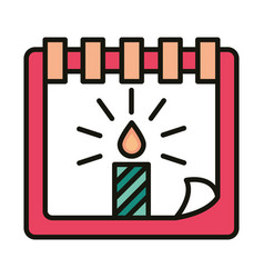 Happy birthday calendar reminder date with candle vector