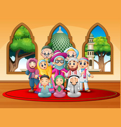 Happy family celebrate for eid mubarak at mosque vector