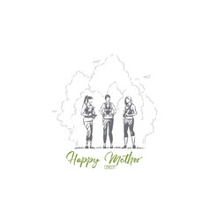 Happy mothers with children in park young women vector