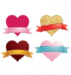 hearts and ribbon banners vector image