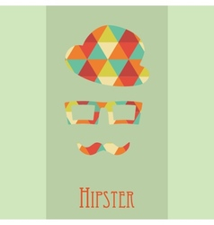 Hipsters elements hat glasses and mustaches vector image