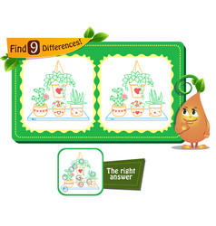 houseplants game 9 differences vector image