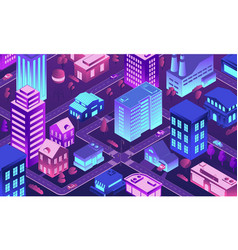 isometric futuristic city 3d town at night vector image