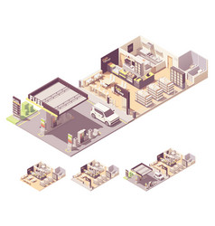 isometric gas station interior vector image
