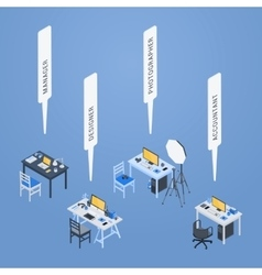 Isometric workplaces of the manager designer vector