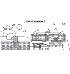 Japan nagoya architecture line skyline vector
