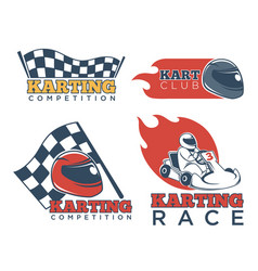 Karting race club and competition promotional vector