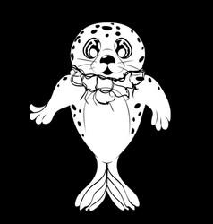 Kawaii seal and net vector
