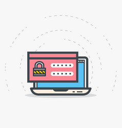 laptop login and password vector image