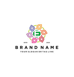 Letter e leaf colorful logo design and business vector