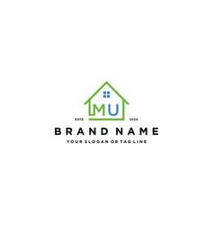Letter mu home logo design vector