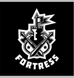 Logo fortress castle and flag swords cross vector
