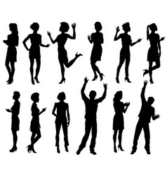 male and female silhouettes people set vector image