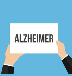 Man showing paper alzheimer text vector