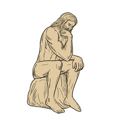 Man with beard sitting thinking drawing vector