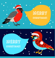 Merry christmas banners with birds vector