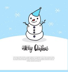 merry christmas card doodle snowman on blue vector image