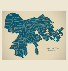 Modern city map - louisville kentucky city of the vector