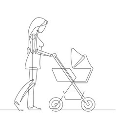 mother and baby stroller one line vector image