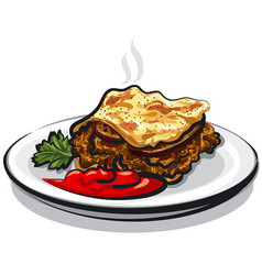 Moussaka with sauce vector