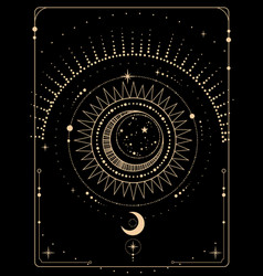 Mystical esoteric gold composition shining vector