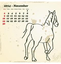 November 2014 hand drawn horse calendar vector image vector image
