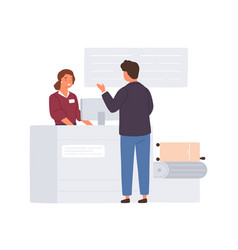 passenger standing at airport check-in counter vector image