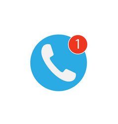 phone icon one missed call sign white on blue vector image