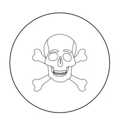 Pirate skull and crossbones icon in outline style vector