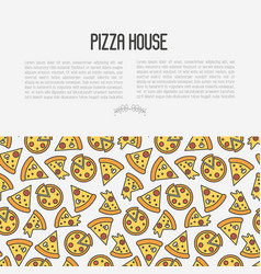 pizza concept with thin line icons vector image