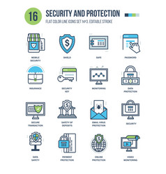 protection and security monitoring insurance vector image