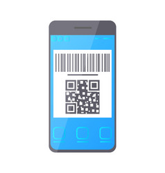 Qr bar code on smartphone screen phone monitor vector