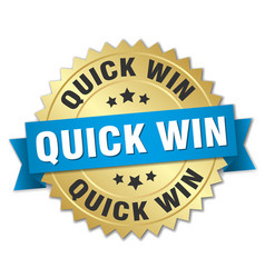 Quick win round isolated gold badge vector