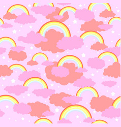 Rainbow cute pink pattern vector