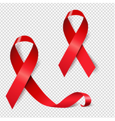 Red ribbon set aids day transparent background vector