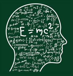 Scientific thinking outline head filling math vector