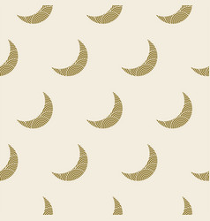 Seamless crescent moon pattern yellow gold colors vector