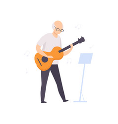 Senior man character playing guitar elderly vector