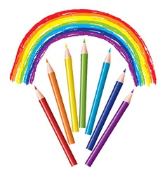 set of colored pencils and rainbow vector image
